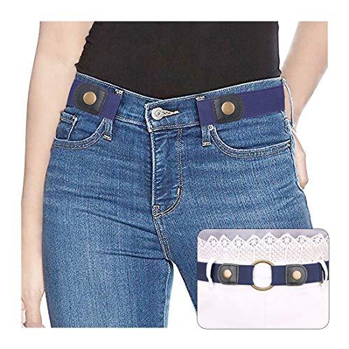 SUOSDEY Elastischer Gürtel Stretchgürtel Unsichtbarer Gürtel Ohne Schnalle für Jeans Hosen Taillen Gürtel Damen,blau,60-84