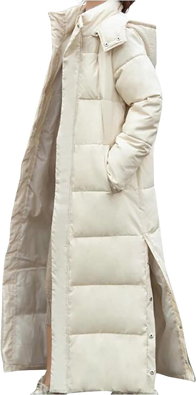 JINLILE Long Coat Trench Puffer Winter Women Faux Fur Warm Windbreaker Jacket Plus Size Lightweight Autumn Outwear