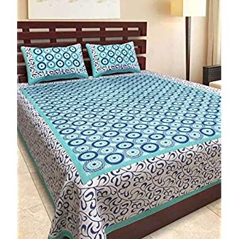 BedZone 100% Cotton Rajasthani Tradition King Size Double Bedsheet with 2 Pillow Cover