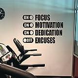 Focus Motivazione Dedizione su scuse Off Adesivi murali per palestra Fitness Decalcomania da muro in vinile Camera da letto Home Decor Classroom color-1 57X32 cm
