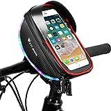 Borsa Telaio Bici, Joycabin Impermeabile Borsa da Manubrio Bici, Borsa Telaio per Bicicletta con Luce di Avvertimento a LED,Adatta per Qualsiasi Smartphone Inferiore a 6 Pollici