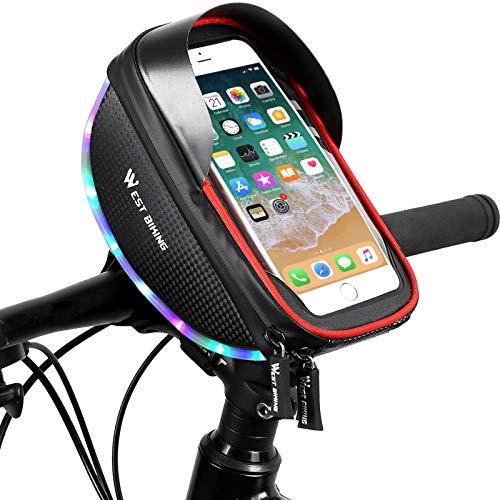 Joycabin Bolsa para cuadro de bicicleta, resistente al agua, gran capacidad, marco con dos barras de luz y soporte para teléfono móvil, adecuada para smartphones de menos de 6 pulgadas.