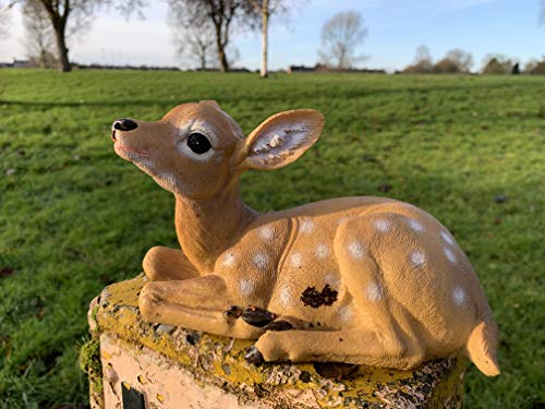 Ablerhome Decor Laying Down Fawn Ornament Baby Deer Stag Garden Sculpture Brown Resin Figurine