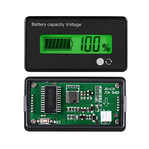 Sun3Drucker 12/24/36/48V LCD Etanche Batterie au Plomb-Acide et Batterie de Lithium Capacité de 3.7V Testeur Régulateur de Tension avec Rétro-éclairage Vert pour la Batterie du Véhicule