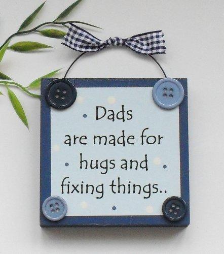 Papa zijn gemaakt voor knuffels en het repareren van dingen Houten keepsake Gift Blue