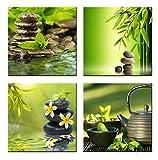 Cufun Art-Impression sur toile de fleurs violette, arbres, cadre en bois, pour chambre de fille, salon, Green Bamboo, 30*30cm*4pcs