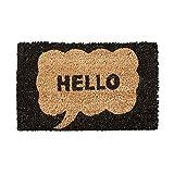 Relaxdays Felpudo en Miniatura para niños, 1.5 x 40 x 25 cm, Fibra de Coco y PVC, Antideslizante, Motivo: Hello, Tela, marrón Oscuro, 1,5 x 40 x 25 cm
