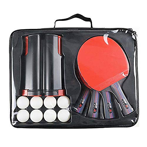 VictorySport Tischtennis Set Ping Pong Set Tragbares einziehbares Tischtennisnetz Tischtennisschläger mit 4 Schlägern, 8 Bällen und einem einziehbaren Netz