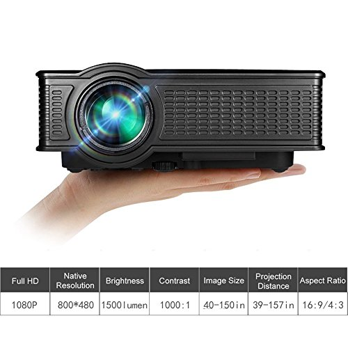 Video Projector, GOXMGO Portable 1080p Full HD Movie Projector LED Multimedia Mini Projector for iPhone Android Mobile Projector in Home Theater Cinema Entertainment