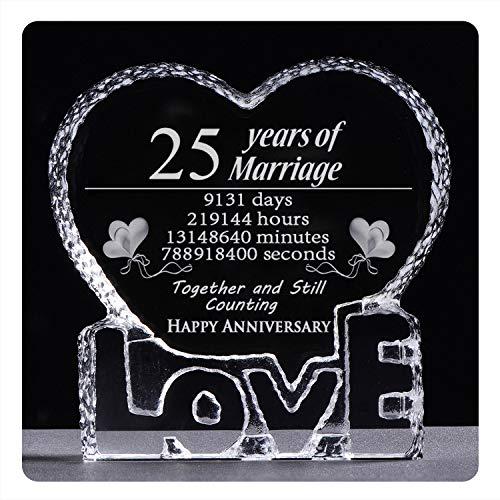 25 años de aniversario de boda, 25 años, pisapapeles de cristal, regalo de recuerdo (25 años)