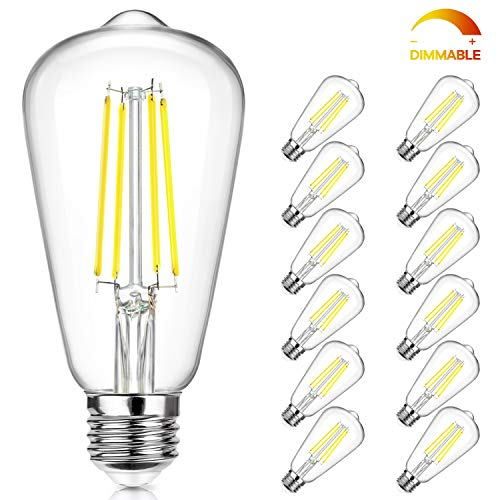 Dimmable Vintage LED Edison Bulbs Equivalent 60W Incandescent, 7W Daylight White 5000K ST58 Antique LED Filament Bulbs with E26 Medium Socket, Super Brightness 850LM, Clear Glass, 12 Packs
