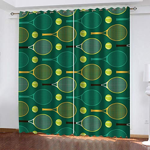 WLHRJ blackout curtains for bedroom living rooms kids kitchen window 3D Digital printing curtains eyelet - 110x78 inch - Tennis racket green print