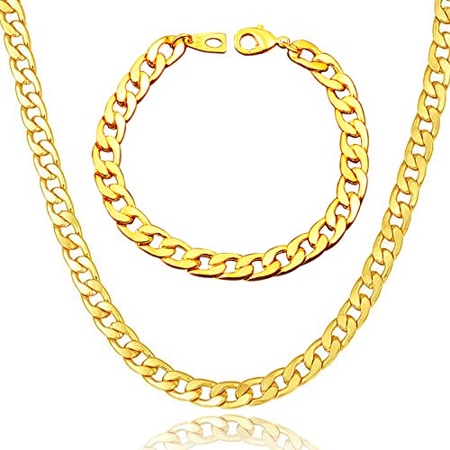 """WELRDFG Men Chain Jewelry 5mm/6mm/7mm Wide Stainless Steel Snake chain 18K Gold Plated Figaro Chain Set (Bracelet 8.3 Inch, Necklace 18"""" 22"""" 26"""" 28"""" ) (Cuban chain 18k-gold-plated (7mm wide), 18.0)"""