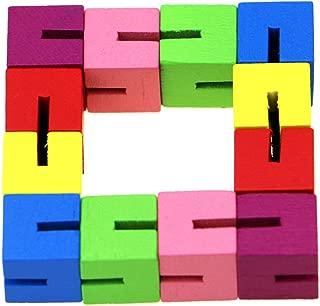 KisSealed 9 Pieces Mini Fidget Puzzles Wooden Flexible Puzzles Stretchable Fidget Puzzles Wood Twist and Lock Blocks for Fidget or Party Favors