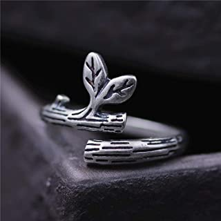 Lozse Anelli regolabili Anello in argento puro S925 donna arte minimalista foglia foglia
