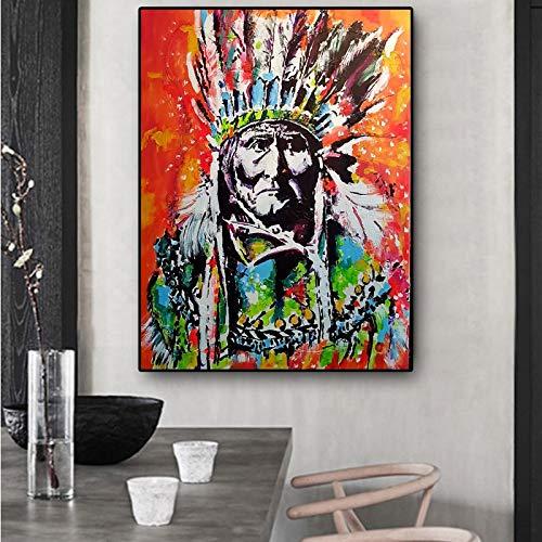 hahastore Retrato de Indios cubanos sobre Lienzo. Pintura al óleo Cuadros Poster e impresión. Salón Mural Imagen 50x70cm (sin Marco)