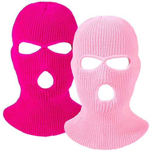 2 Pieces 3-Hole Ski Mask Knitted Face Cover Winter Balaclava Full Face Mask for Winter Outdoor Sports (Pink, Rose Red)