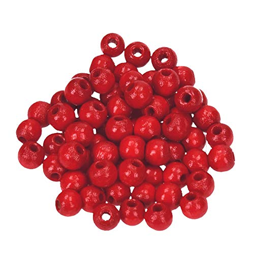 Efco 1400429 6 mm 110-Piece Wooden Beads Hole, Red