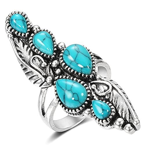 Ezzyso Anillo de Turquesa Azul de Gota de Agua, joyería de Anillo de aleación única de Diamante Retro Estadounidense (2 Piezas),8