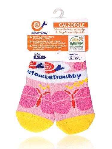 Mebby Calzofole Chaussettes pour Bébé - Papillon - 18 mois - 3 ans - 23/26