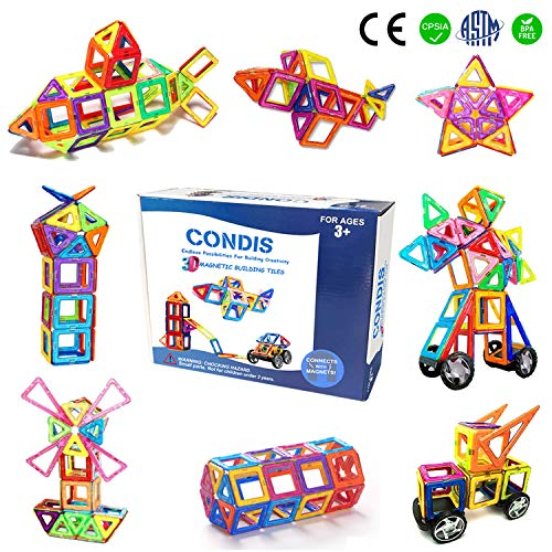 Condis Bloques de Construcción Magnéticos para niños, Juegos de Viaje Construcciones Magneticas imanes Regalos cumpleaños Juguetes Educativos para Niños Niñas de 2 3 4 5 6 7 8 Años Infantil, 78 Piezas
