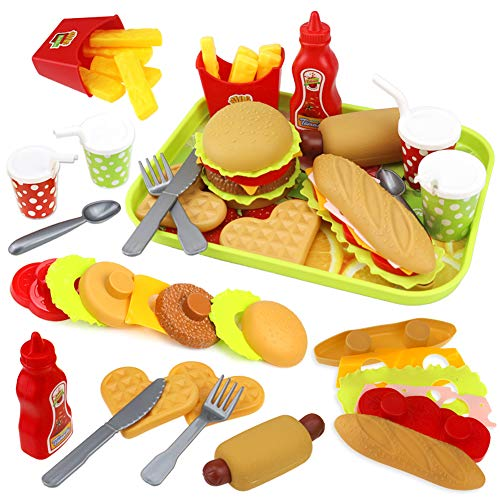 Buyger Vassoio Hamburger e Hotdog Cucina Cibo Giocattoli per Bambini