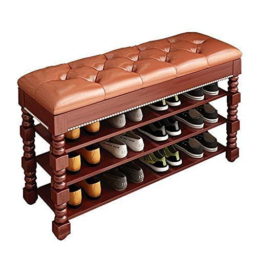 Cay2T Mueble Zapatero Roble Tallado marrón,Banco de Zapatos Multi-Capa de Madera Maciza,Modernos Mueble recibidor Zapatero,montón de Espacio de Almacenamiento de Zapatos,60 x 35 x 45 cm,3capas