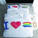 Juego de funda de edredón de 3 piezas, con colores en forma de corazón, microfibra suave, para dormitorio, habitación de invitados, habitación de los niños