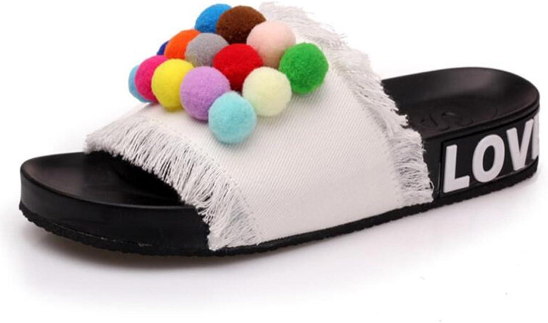 Kyle Walsh Pa Women Flip Flop Flat Sandal,Cowboy Platform colorful Pompom Tassel Slipper shoes