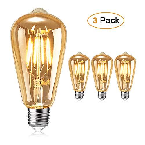 Ampoule Edison , otutun Ampoule LED Vintage Lampe Décorative E27 4W Rétro Filament Ampoule Antique Blanc Chaud pour Restaurant, Café, Windows, Showrooms Ampoules à incandescence- 3 Pack