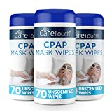 Care Touch CPAP Mask Cleaning Wipes - Unscented - 3 Packs of 70 Unscented Cleaning Wipes for CPAP Masks (210 Total) - Made in The USA