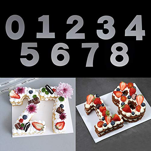 RAYNAG 0-8 Number Cake Stencils Flat Plastic Templates Cutting Number Mold 12 Inch Numerical Stencils for DIY Numbers Cakes/Cookies
