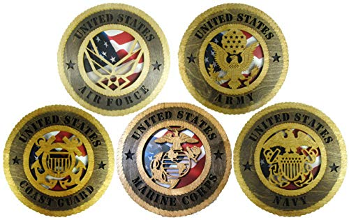 5 Branch Laser Cut Military 12' Wall Plaques with American Flag