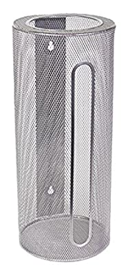 Ybm Home Silver Mesh Wall Mount Cylinder Bag Saver, Holder, and Dispenser 2371 by Ybmhome