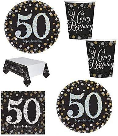 Mgs33 Kit Anniversaire 18, 30 ,40, 50 Ans Complet Table 16 Personnes (16 Assiettes, 16 gobelets, 16 Serviettes, 1 Nappe ) fête, Or doré argenté Gold Silver Brillant (50 Ans)