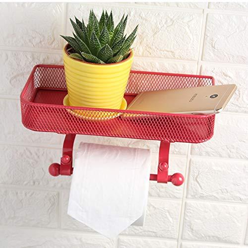 AIOXY WC Rollenhalter Toilettenpapierhalter Kunst aus Eisen Klopapierhalter für Badzimmer, Kunst aus Eisen-Finish,Geeignet für zu hause, bad, dusche dekoration,Rot