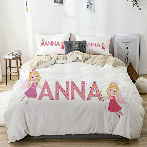 Duvet Cover Set Beige,Traditional Nursery Themed Lettering with Colorful Dots with Fairies Female Children, Decorative 3 Piece Bedding Set with 2 Pillow Shams