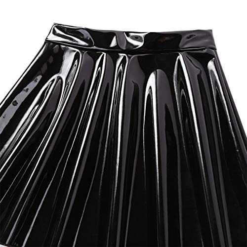 iiniim Falda Plisada de Cuero Wet Look Mujer Sexy Minifalda Atractiva Bodycon A-Line Rock Skater Clubwear Negro Small