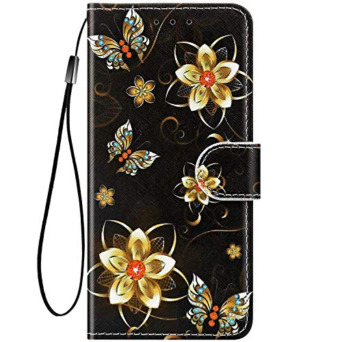 Felfy Kompatibel mit Moto G6 Play Hülle Bunte Painted Muster Schutzhülle,Handyhülle für Moto G6 Play Magnet Flip Case PU Lederhülle Tasche mit Kartenfach/Standfunktion - Goldene Blume