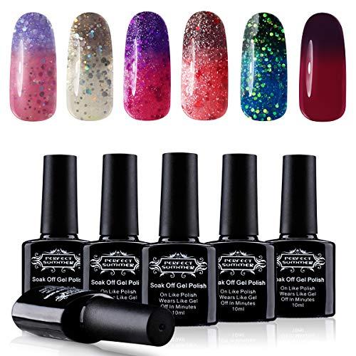 Perfect Summer 6PCS Color Changing Gel Nail Polish Temperature Change Color Gel Nails Soak Off UV/LED Nail Starter Kit 10ML 0