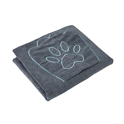 Winthome Hundehandtuch, hundehandtuch extra saugfähig, microfaser handtücher für Hunde Katzen, Großer Hunde Bademantel Schnelltrocknend Warm (100x130cm, Grau)