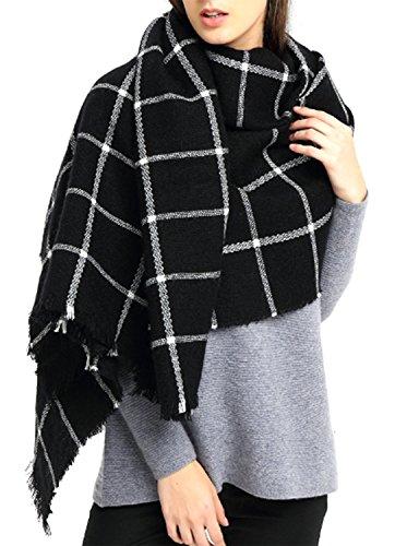 Minetom Damen Oversized Herbst Winter Schal klassische Kariert Schal lange weich Wraps grosse Schal Schwarz-Weiß One Size