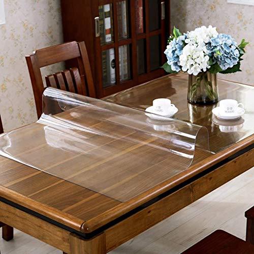 Mantel transparente Rectangular de PVC protector de la tabla, resistente al agua de plástico de vinilo Tabla cubierta a prueba de derrames y fácil de limpiar cena del café Mantel -clear 90x150cm (35x5