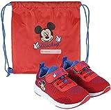 La Esencia Mickey Mouse Zapatillas Deportivas para Niños, Zapatillas Cierre Facil de Velcro, Incluye Bolsa de Deporte Infantil, Regalo para Niños, Tallas 21 a 27 (Rojo, 25)