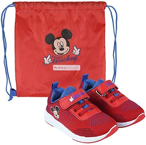 La Esencia Mickey Mouse Schuhe fur Jungen, Turnschuhe Leichtes Design, Kinder Sport Tasche, Einfacher Klettverschluss, Mickey Maus Geschenk für Jungen! Größe 23