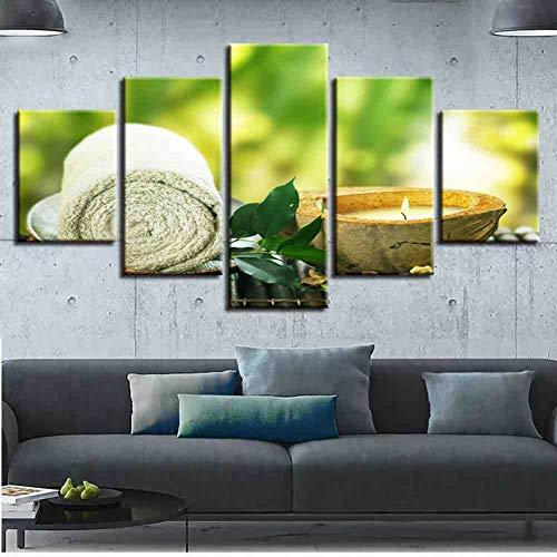 GIAOGE Slaapkamer Decoratie Muurkunst 5 stuks Zen kaarsen Green Leaf handdoek Schilderij Posters Modulaire Canvas foto's Modern Prints Kunstwerk mit gerahmten 20x35 20x45 20x55cm