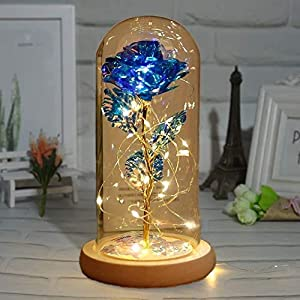 artificial flower rose gift,beauty and the beast rose,gifts for mom birthday, unique gifts for women, christmas, wedding,valentine's day, anniversary and birthday (blue) silk flower arrangements