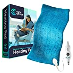 "Cure Choice Large Electric Heating Pad for Back Pain Relief + Storage Pouch, Ultra Soft 12""x24"" Heating pad for Muscle Cramps - Heated Pad with Adjustable Temperature Settings, Safe Auto Shut (Blue)"