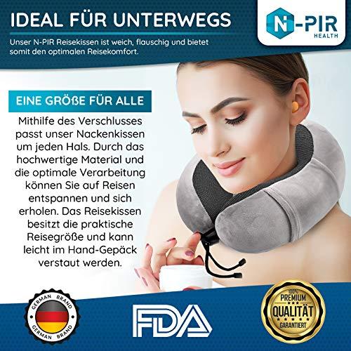 N-PIR Premium Reisenackenkissen I DEUTSCHE Marke I Flugkissen mit Schlafbrille und Ohrstöpsel I Nackenkissen für entspannte Flugzeug-Reise I Schlafkissen für entspannte Nächte