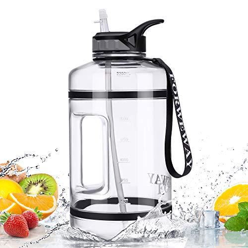 FORWEWAY Groß Trinkflasche mit Strohhalm 2,2 Liter, BPA Frei Auslaufsicher Sport Wasserflasche mit Tragegriff für Gym Bodybuilding Outdoor Sport Büro